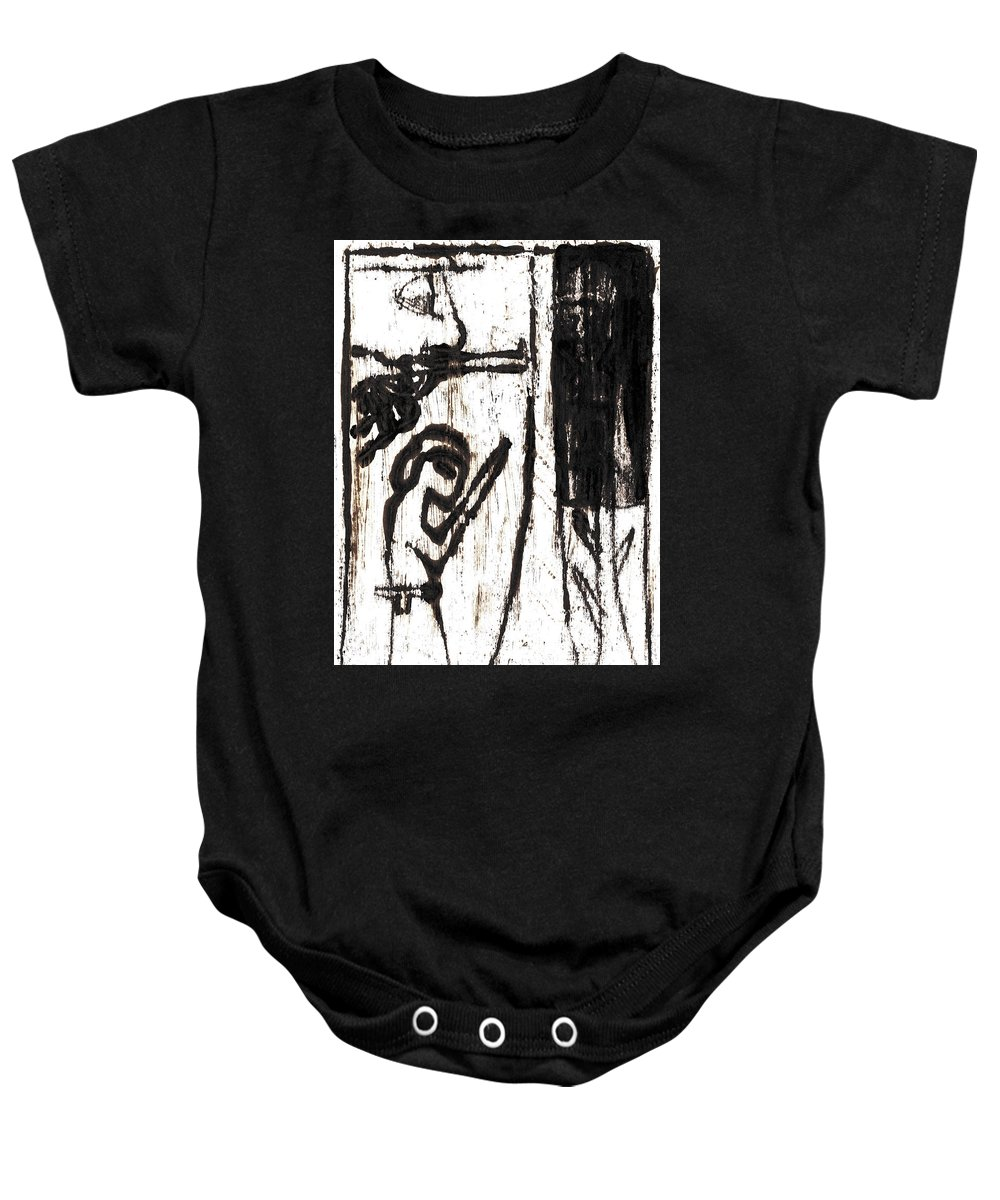 Assassin Baby Onesie featuring the painting Assassin After Mikhail Larionov Black Oil Painting 10 by Edgeworth DotBlog