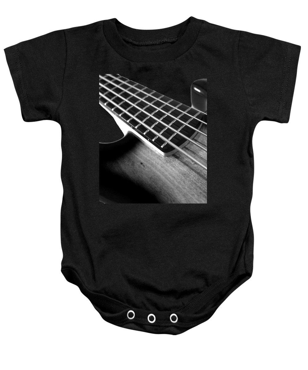 Cool Baby Onesie featuring the digital art Bass Guitar Musician Player Metal Rock Body by Super Katillz