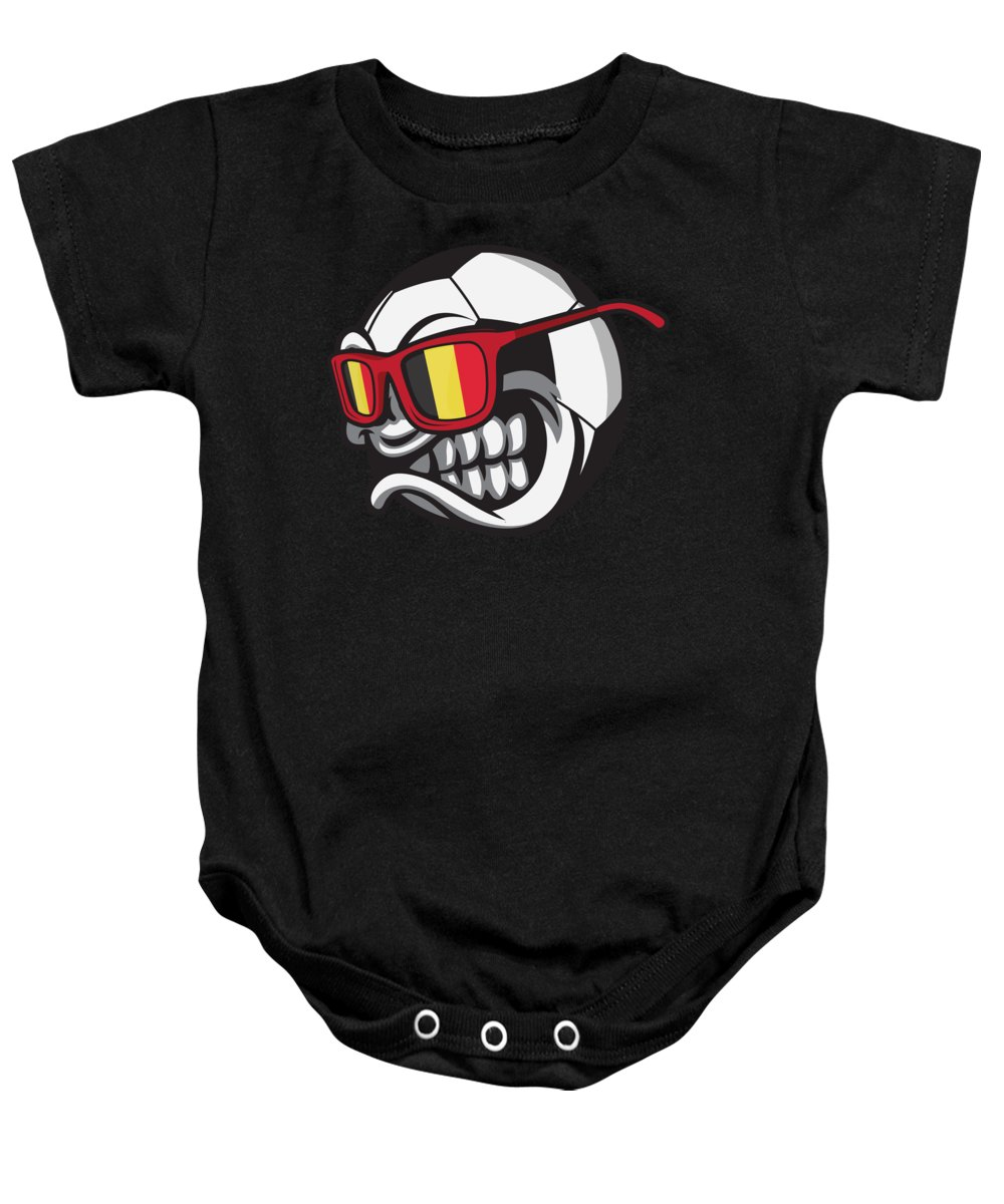 Belgium Baby Onesie featuring the digital art Belgium Angry Soccer Ball With Sunglasses Fanshirt by Festivalshirt