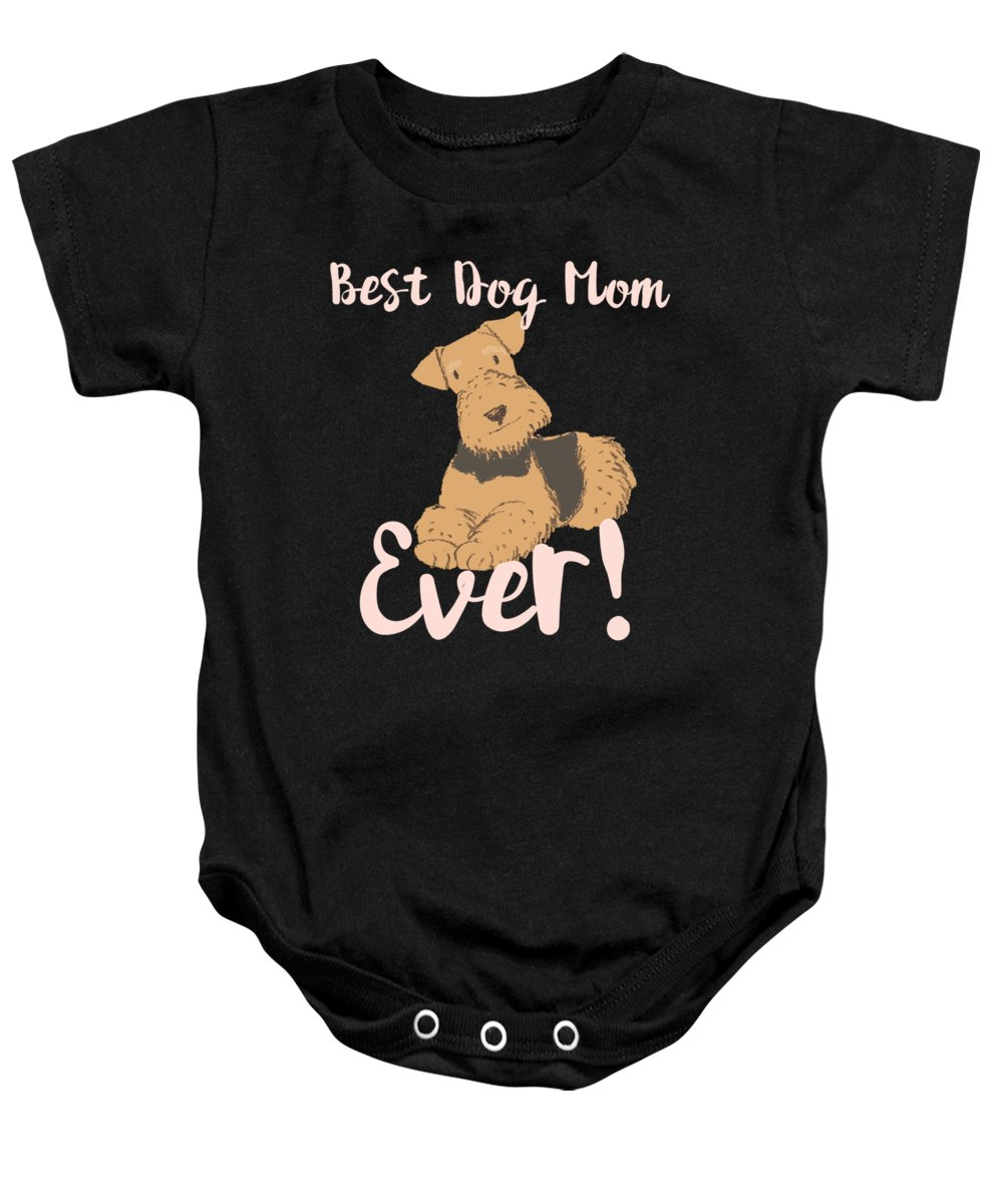 Beagle Baby Onesie featuring the digital art Best Dog Mom Ever Terrier by Kaylin Watchorn
