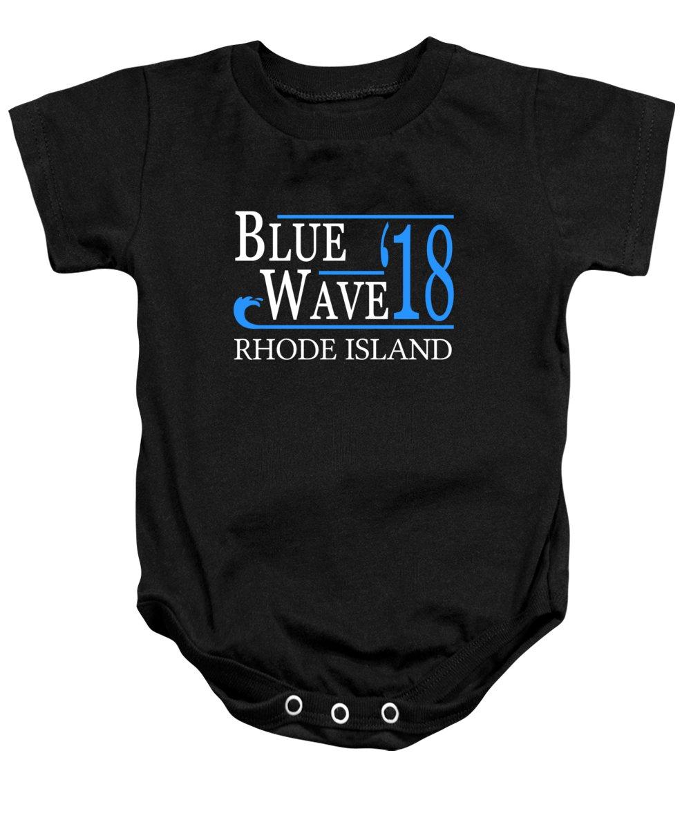 Election Baby Onesie featuring the digital art Blue Wave Rhode Island Vote Democrat 2018 by Flippin Sweet Gear