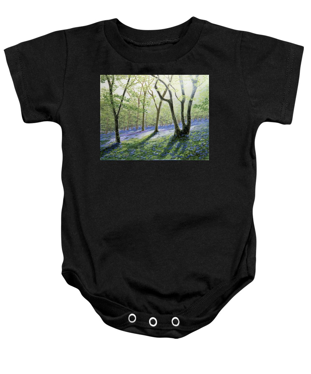 Bluebells Baby Onesie featuring the painting Bluebell Wood by Raymond Ore