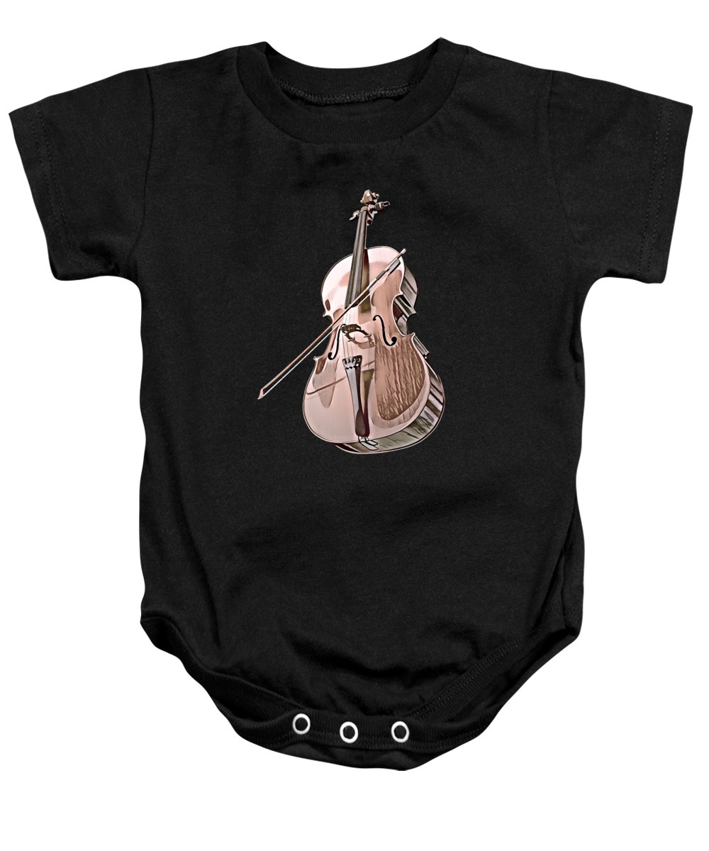 Cool Baby Onesie featuring the digital art Cello String Music Instrument Musician Color Designed by Super Katillz