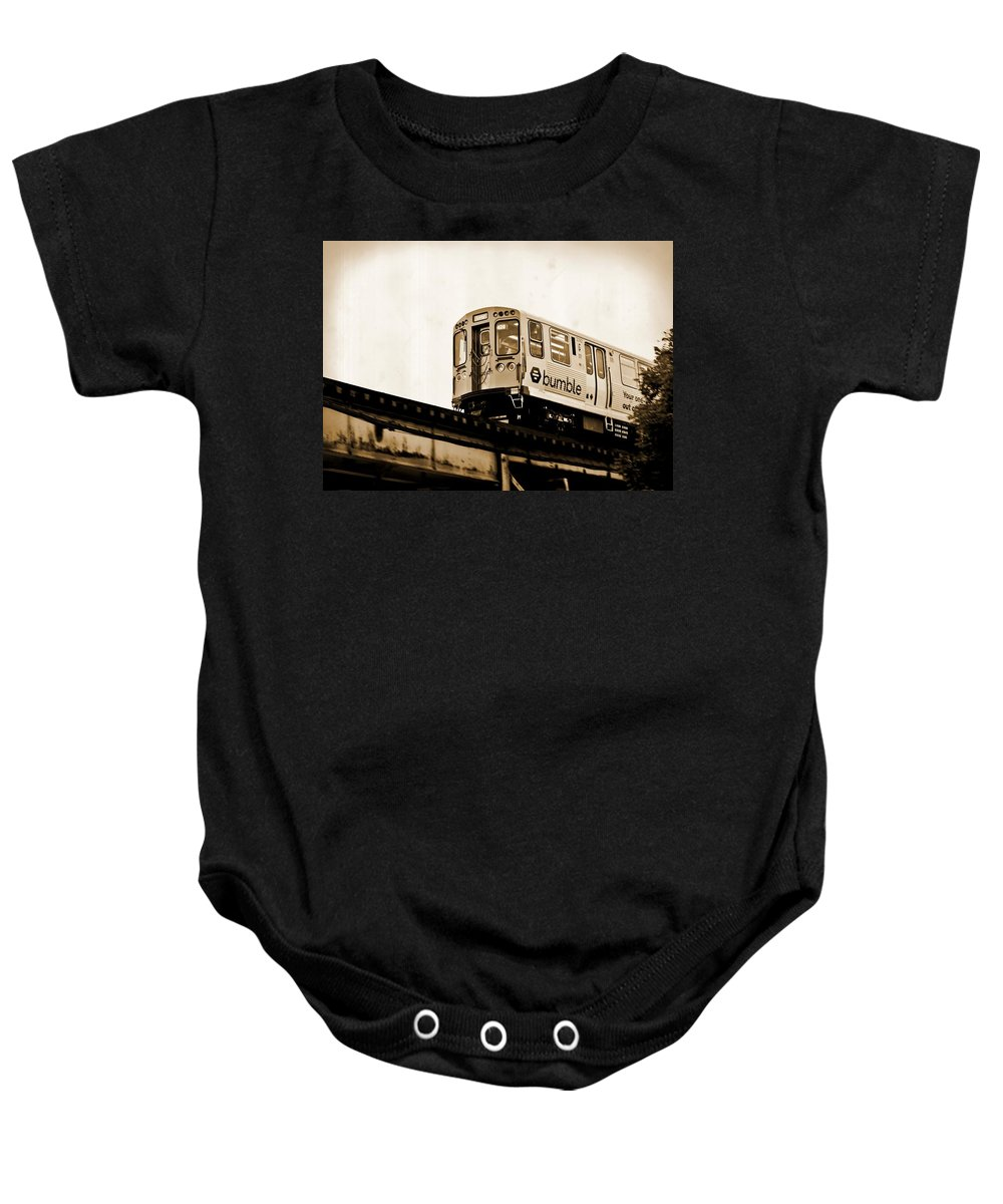 Chicago Baby Onesie featuring the photograph Chicago Metra Sepia by Mary Pille
