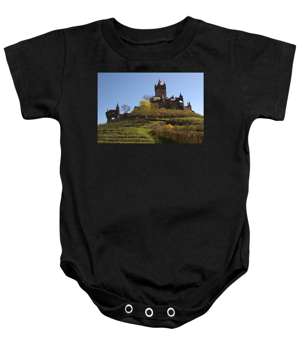 Castle Baby Onesie featuring the photograph Cochem Castle And Vineyard In Germany by Victor Lord Denovan