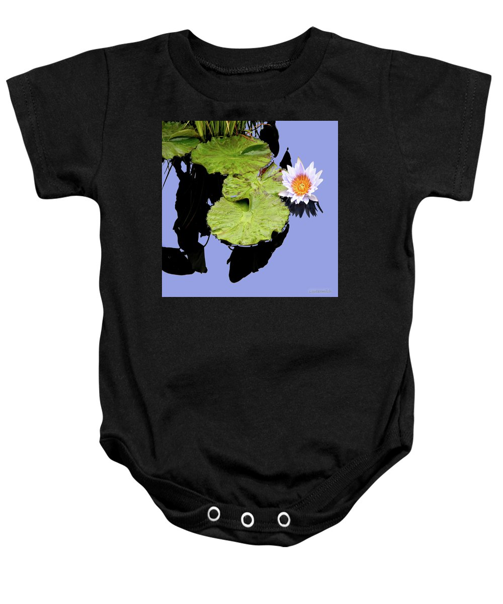 Water Lily Baby Onesie featuring the photograph Composition with Water Lily by John Lautermilch
