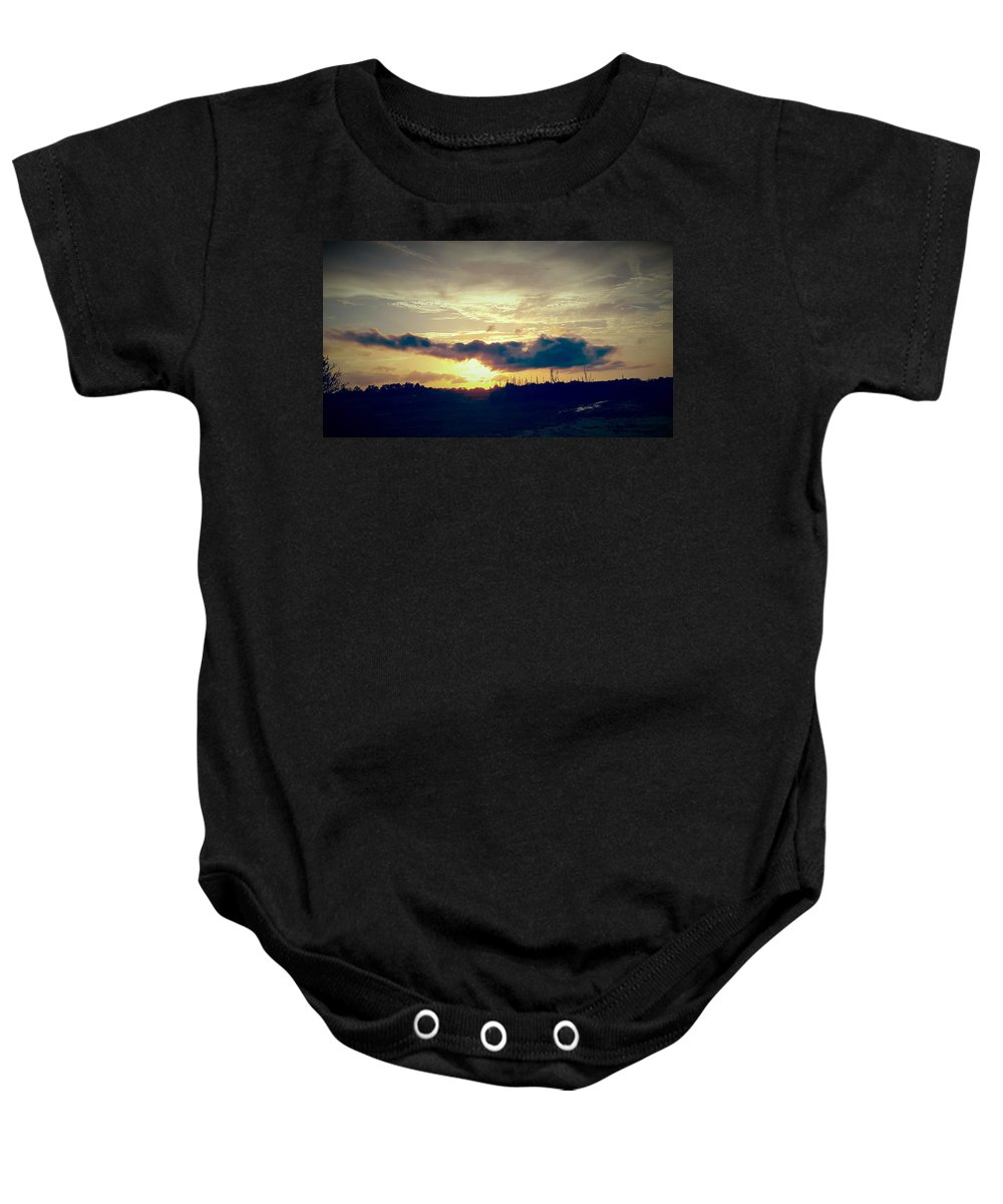 Landscape Baby Onesie featuring the digital art Country Sunset In Pavo by Nichole King