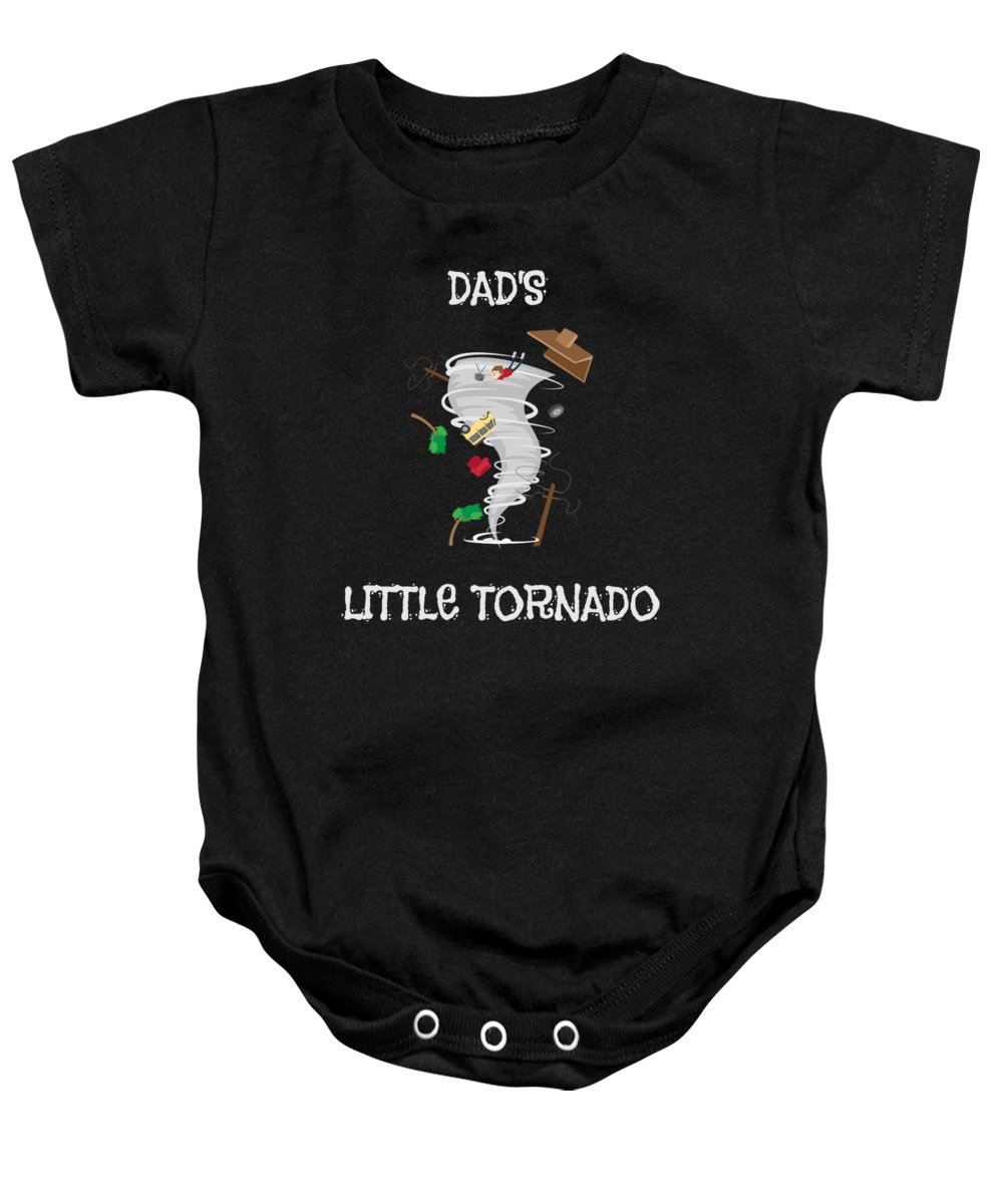 Dads-little-tornado Baby Onesie featuring the drawing Cute Dads Little Tornado For Tornado Kids by The Perfect Presents