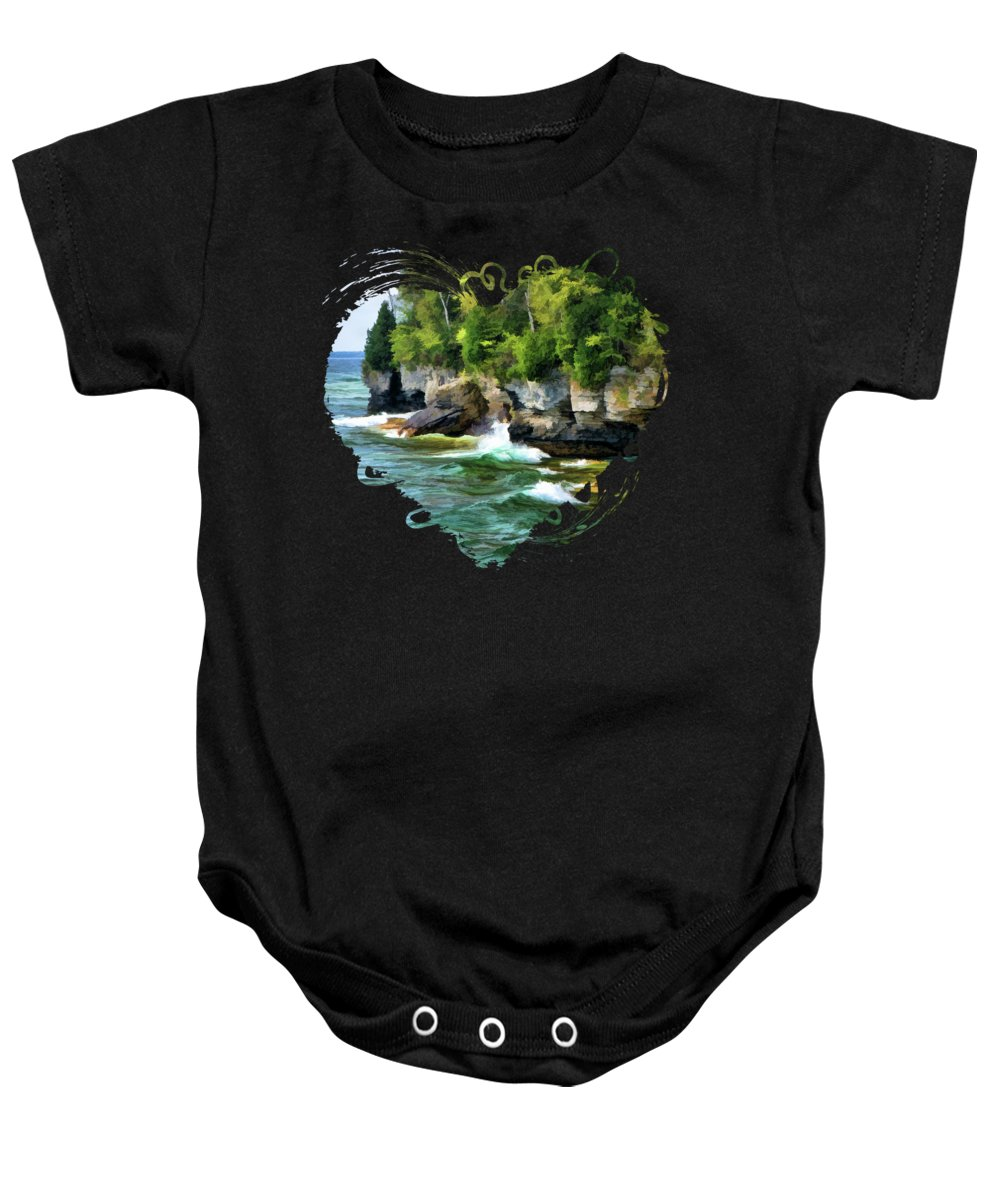 Cave Point Baby Onesie featuring the painting Door County Cave Point Cliffs by Christopher Arndt