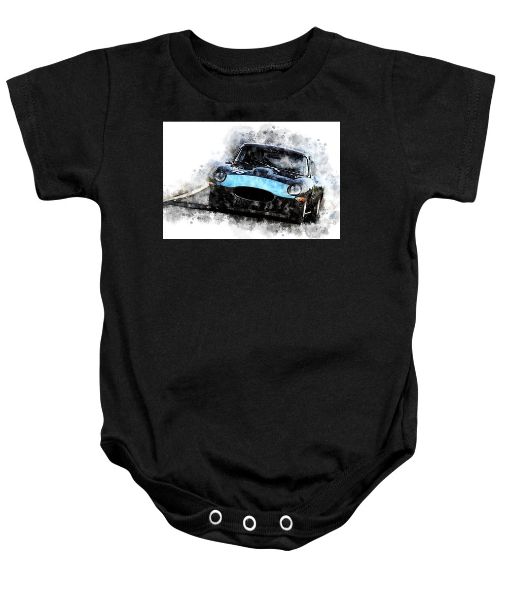 Racing Baby Onesie featuring the painting E-type Racing by Theodor Decker