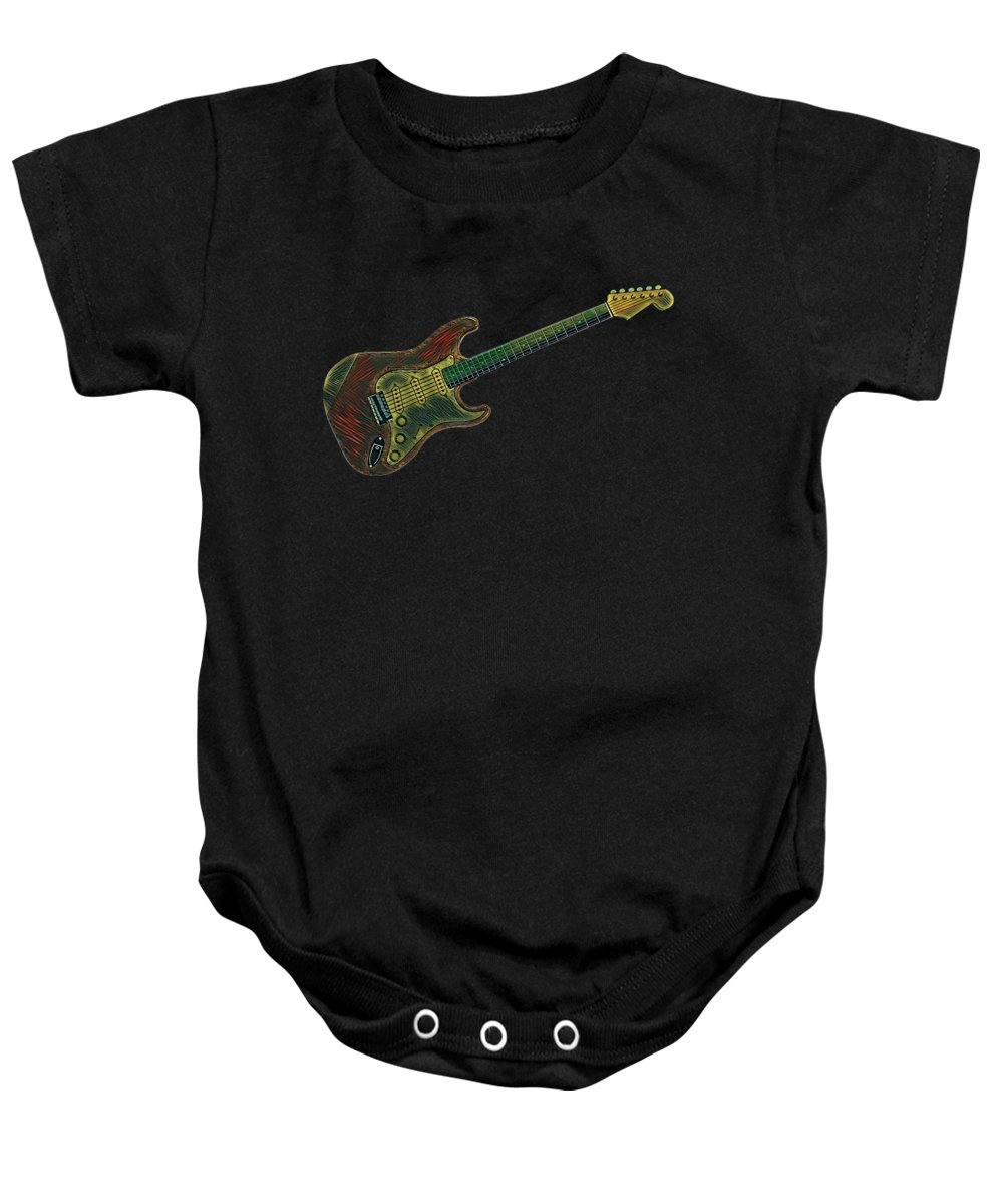 Cool Baby Onesie featuring the digital art Electric Guitar Musician Player Metal Rock Music Lead Full Body by Super Katillz