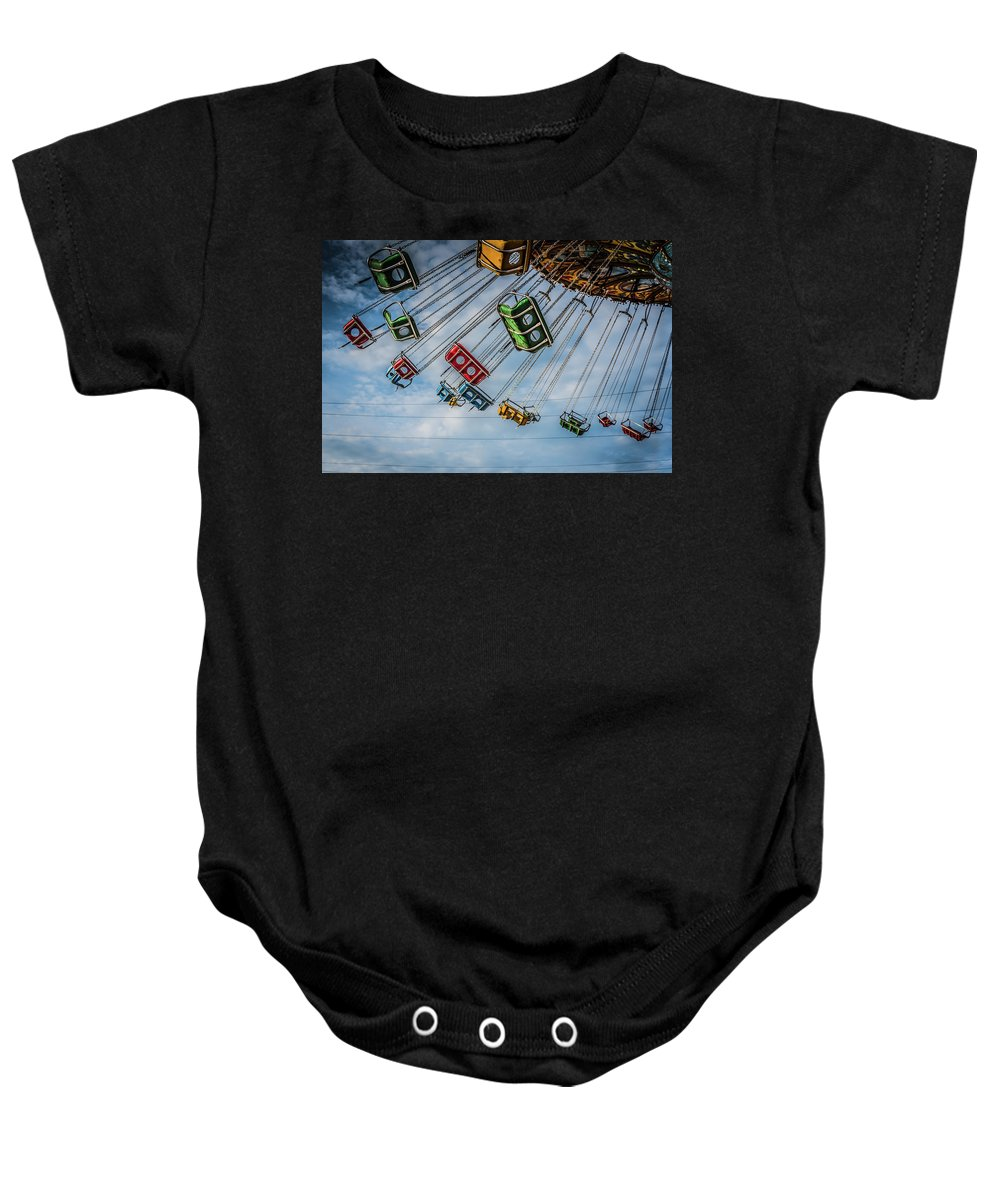 Vacation Baby Onesie featuring the photograph Empty Swings by Anthony Doudt