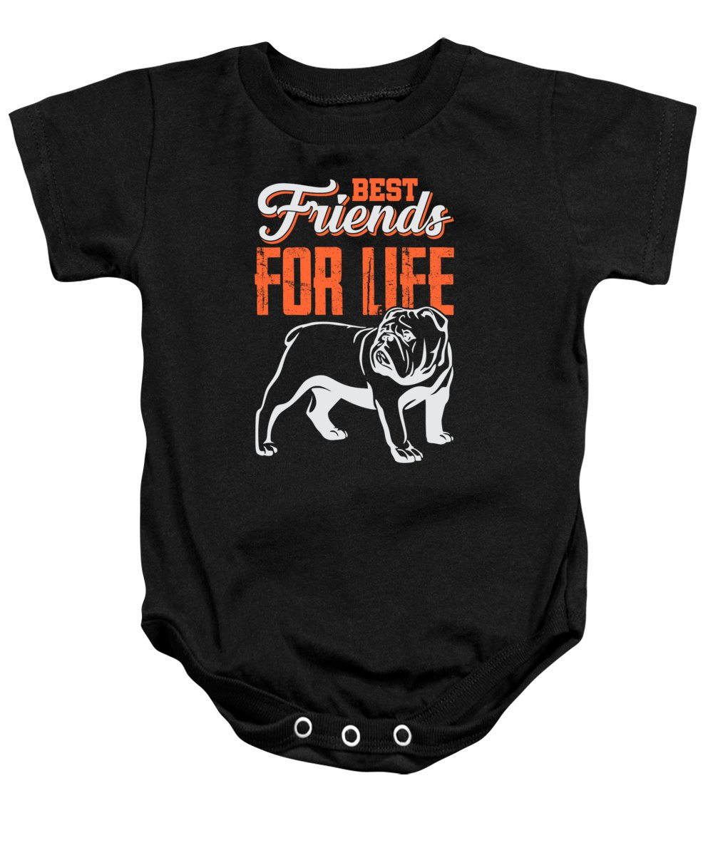 Best-friends Baby Onesie featuring the digital art English Bulldog Best Friends For Life by Passion Loft