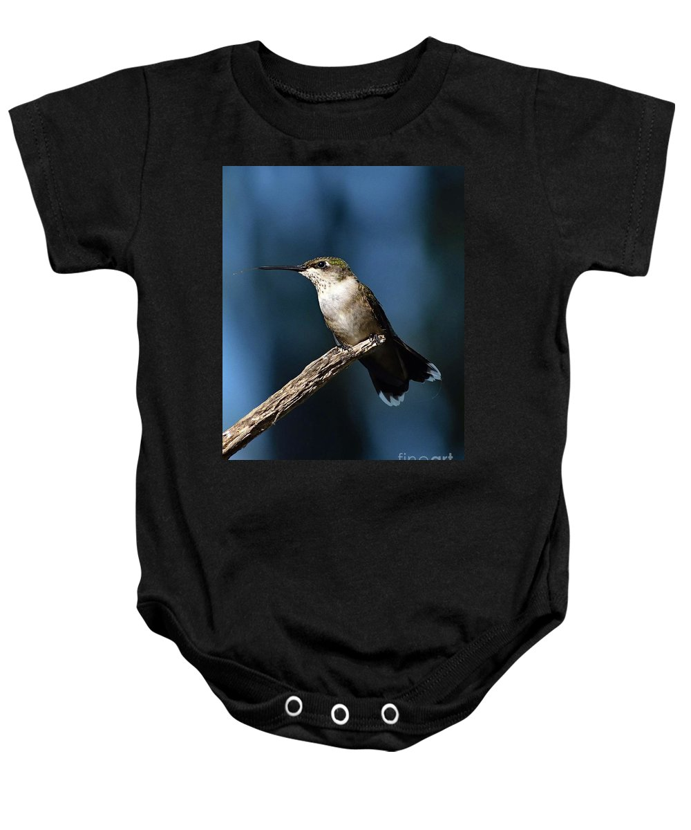 Hummingbird Photo Baby Onesie featuring the photograph Flick Of The Tongue - Ruby-throated Hummingbird by Cindy Treger