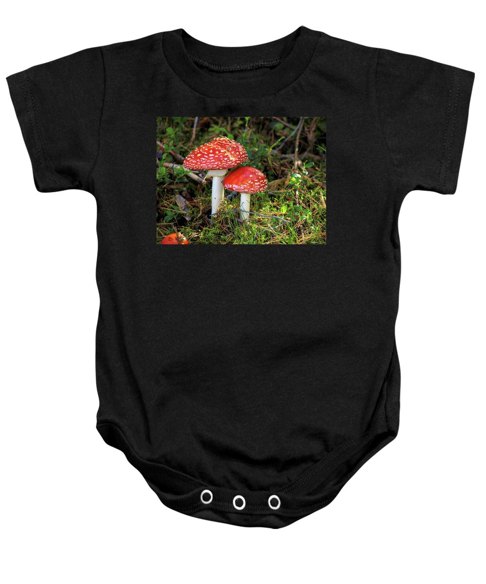 Flyagaric Baby Onesie featuring the photograph Fly Agaric by Barry W King