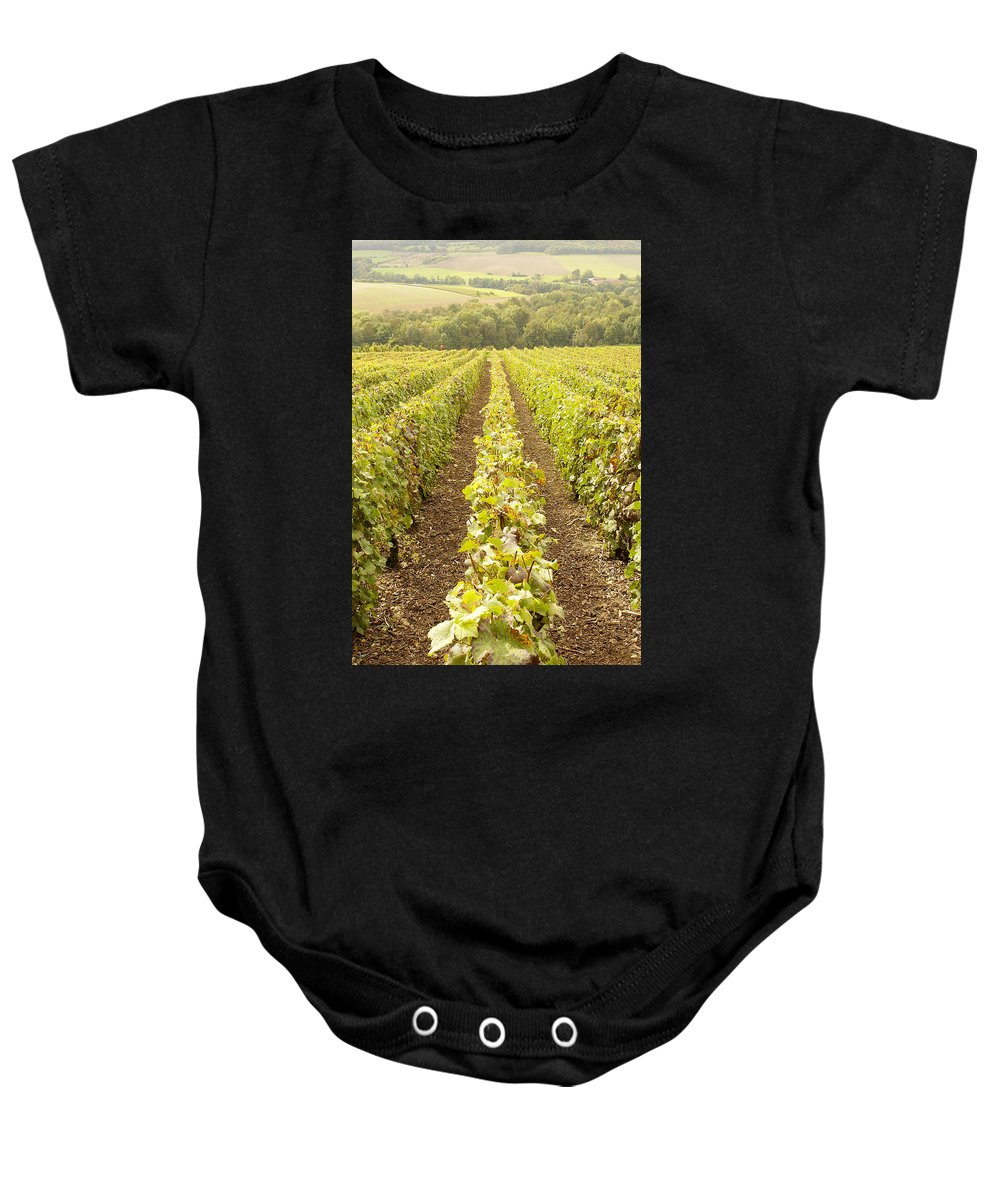 France Baby Onesie featuring the photograph French Vineyards Of The Champagne Region by Victor Lord Denovan