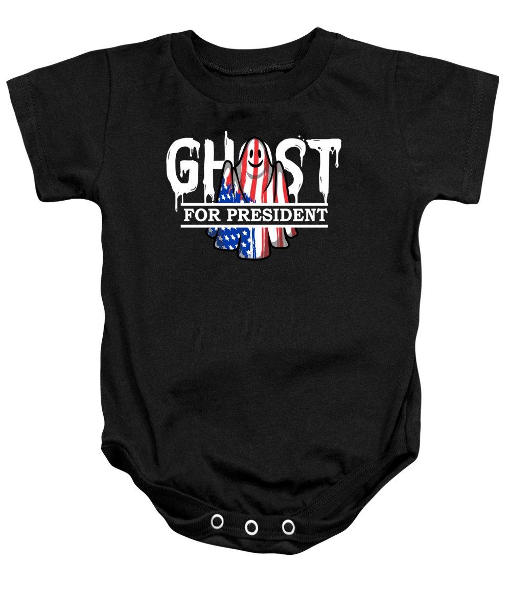 Halloween Baby Onesie featuring the digital art Ghost Elected Cute Halloween Spirit In American Flag Dark by Nikita Goel