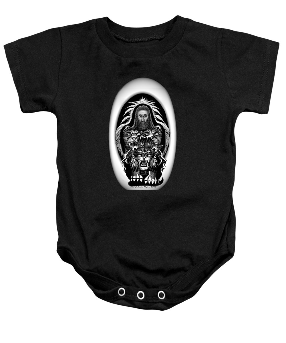Pastel Chalk Baby Onesie featuring the drawing Give Us The Truth 2 by Ras Tafari