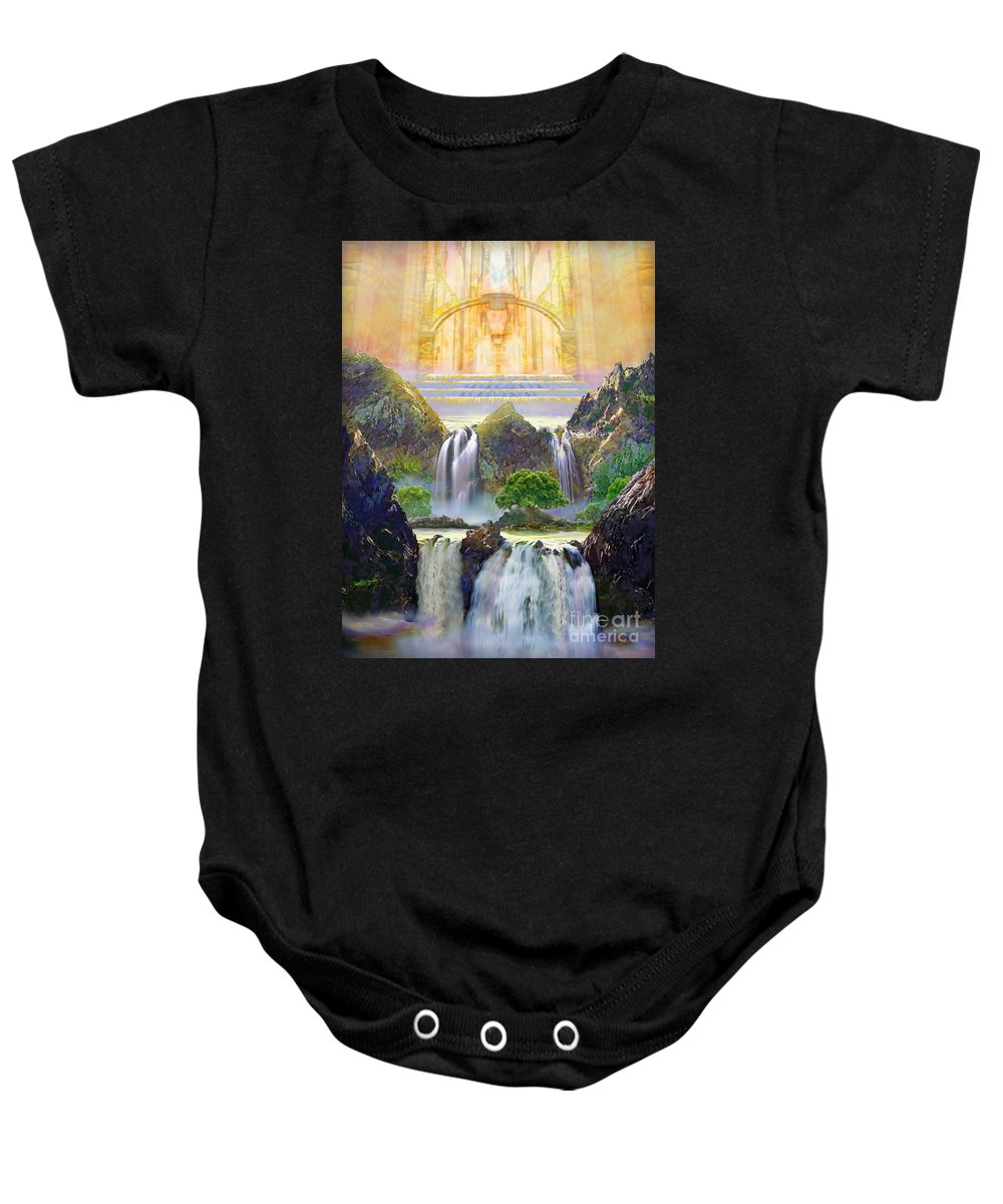 Heaven Baby Onesie featuring the painting God's Holy Hill by Todd L Thomas