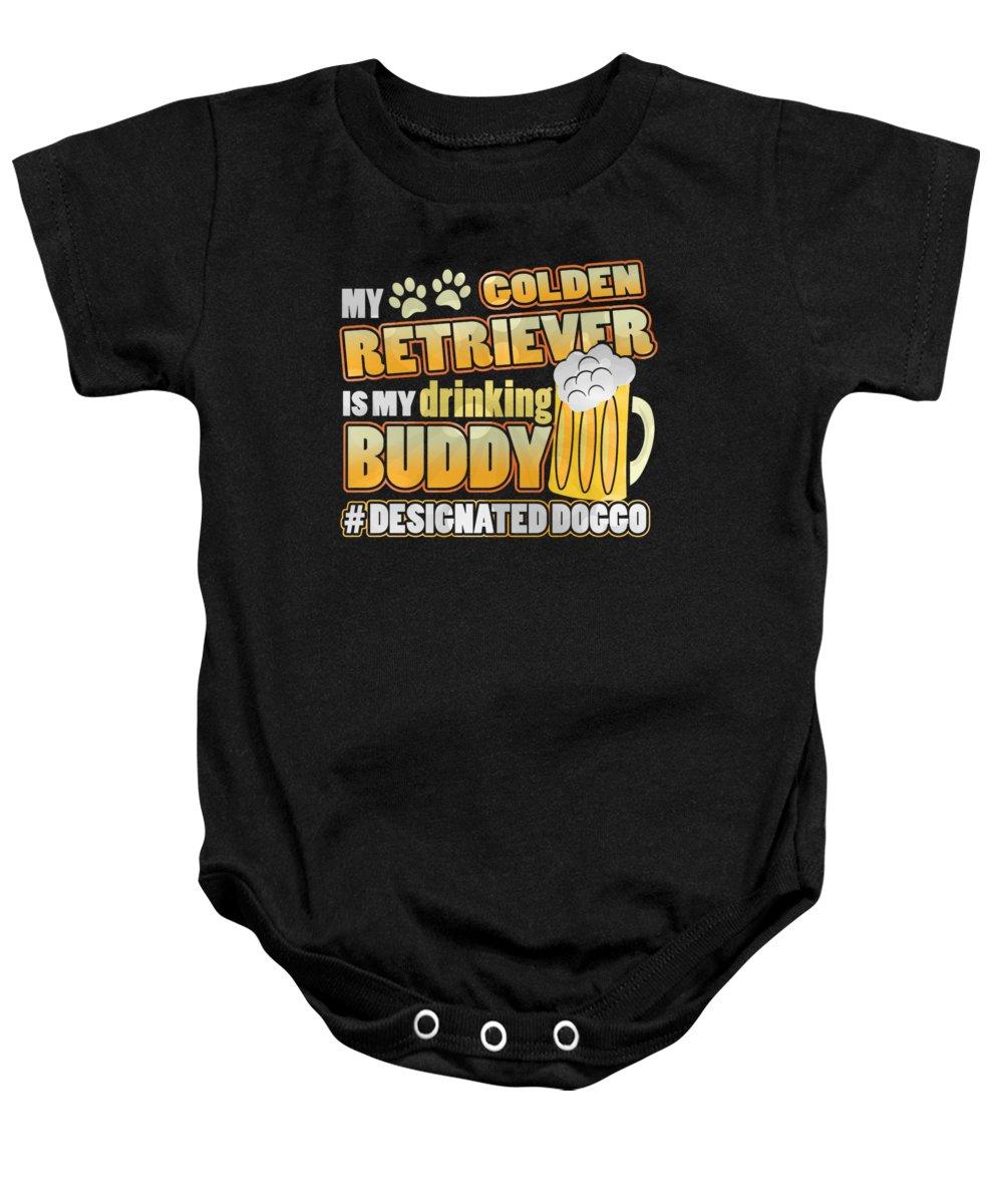 Hashtag Baby Onesie featuring the digital art Golden Retriever Drinking Buddy Hashtag Designated Doggo by Passion Loft