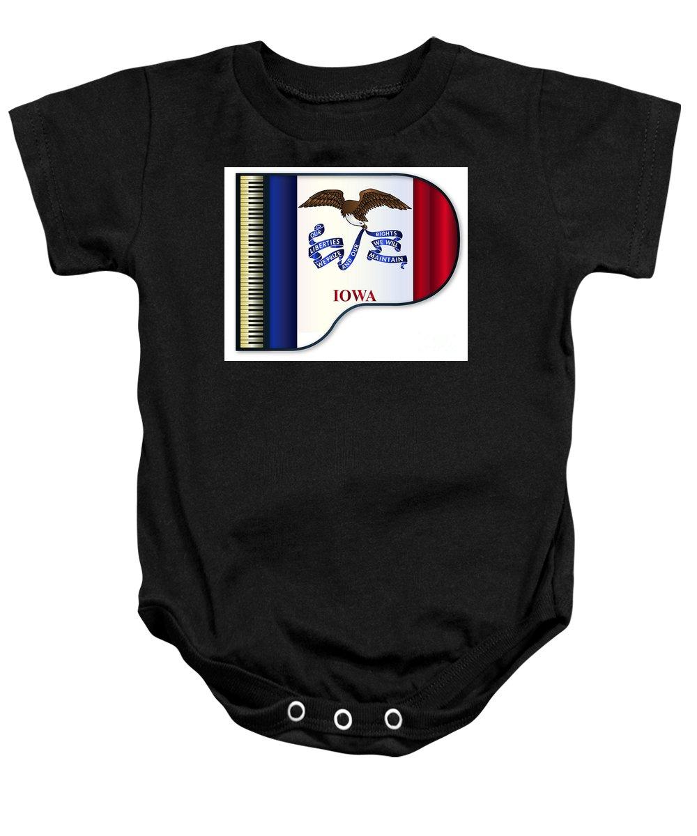 Grand Baby Onesie featuring the digital art Grand Piano Iowa Flag by Bigalbaloo Stock