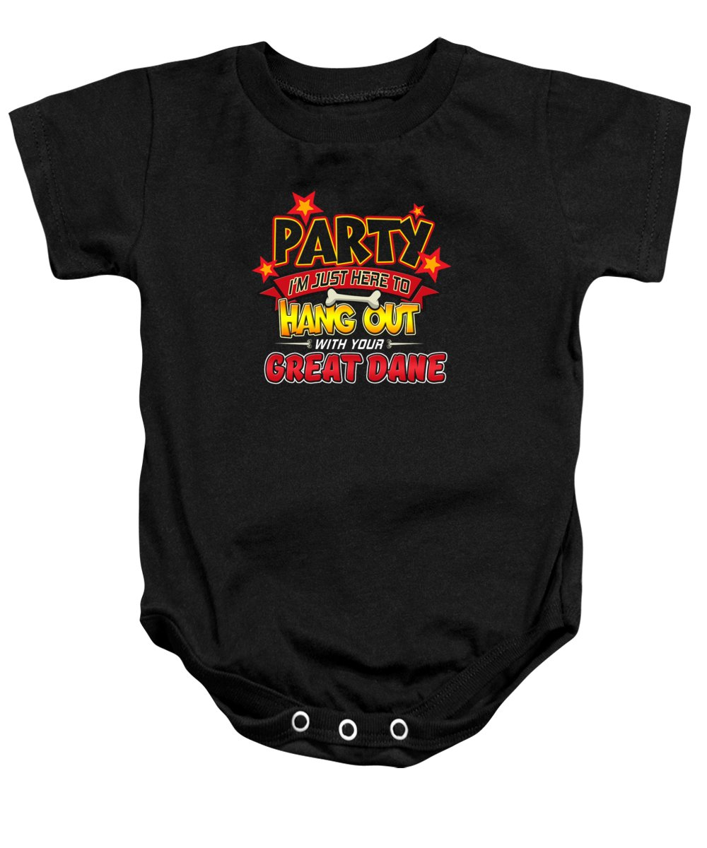 Artistic-dog Baby Onesie featuring the digital art Great Dane Dog Party by Passion Loft