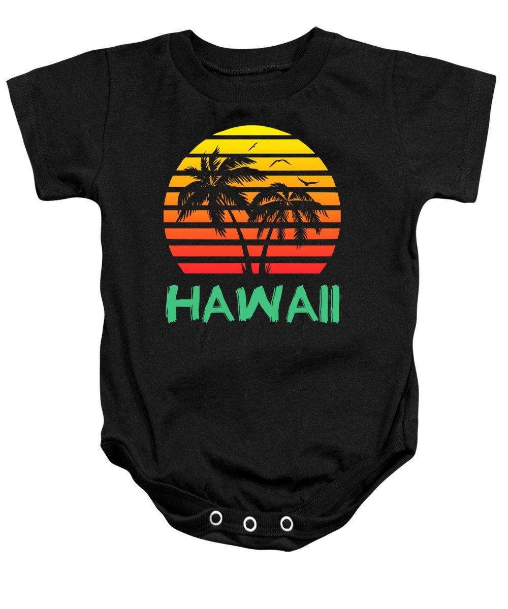 Hawaii Baby Onesie featuring the digital art Hawaii Sunset by Filip Schpindel