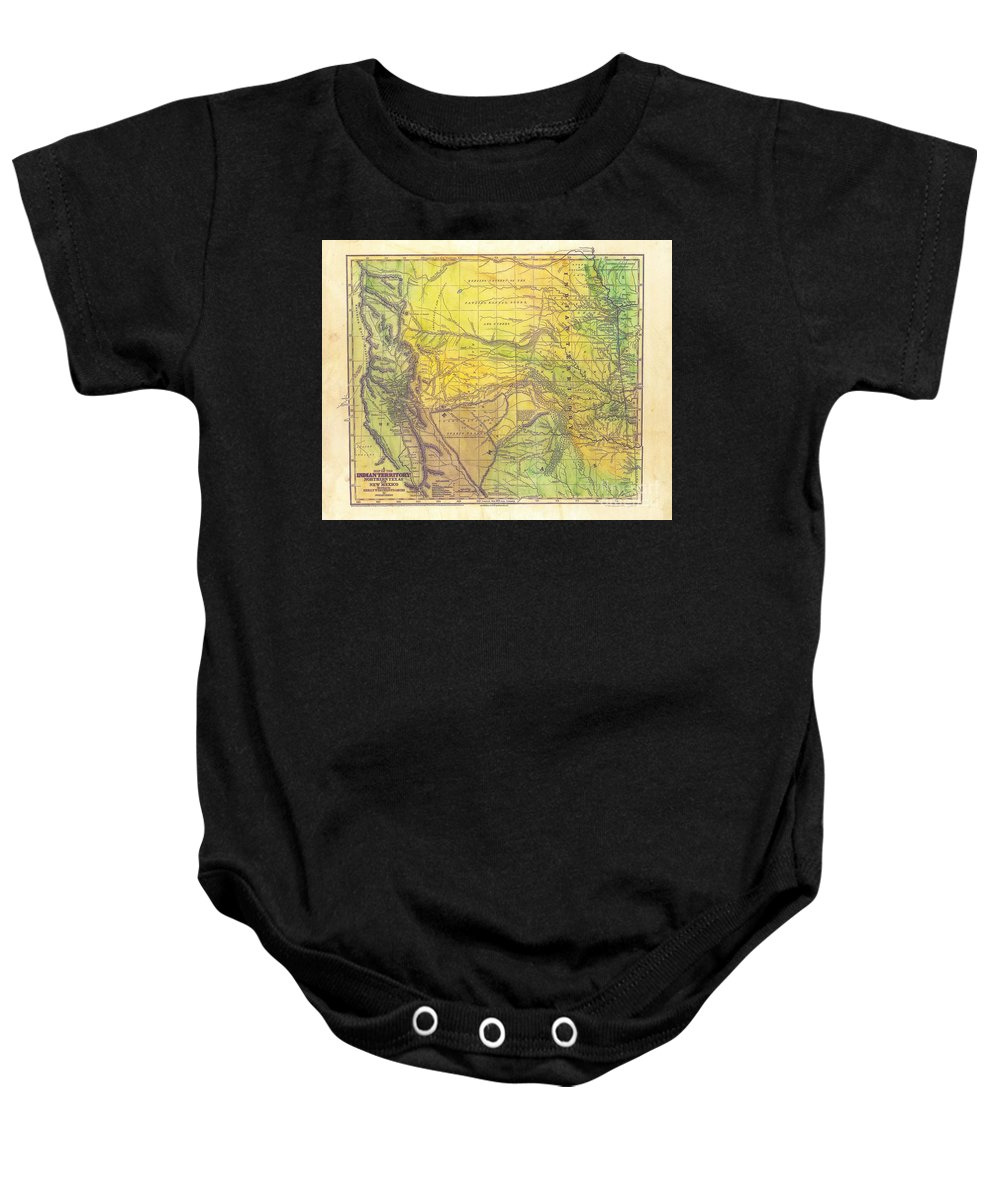 Indian Territory Baby Onesie featuring the painting Indian Territory Tribal Map Northern Texas by Lisa Middleton