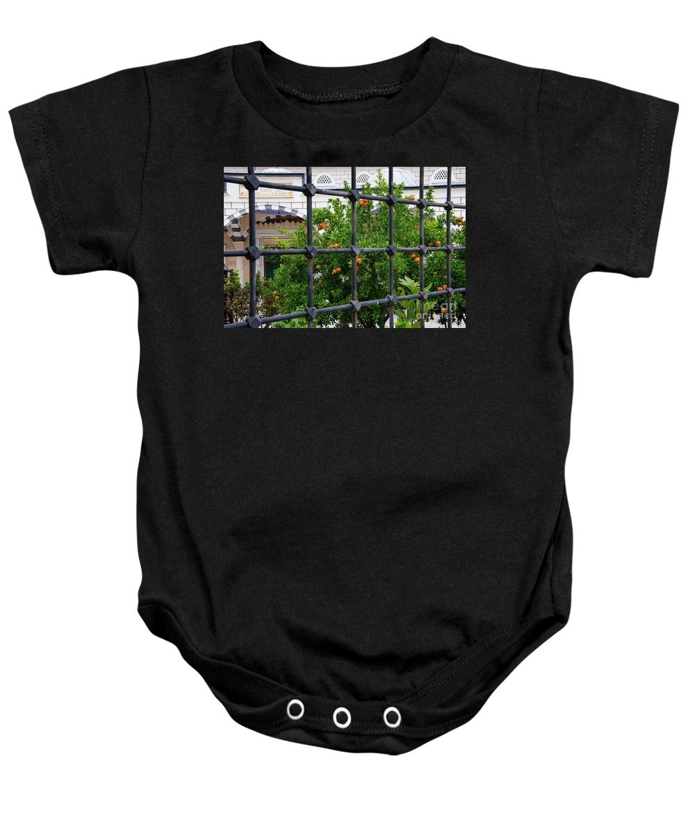 Kemerburgaz Baby Onesie featuring the photograph Iron Fencing by Bob Phillips