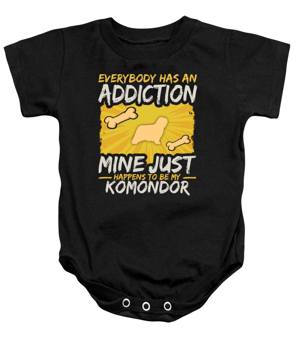 Funny-dog-breed Baby Onesie featuring the digital art Komondor Funny Dog Addiction by Passion Loft