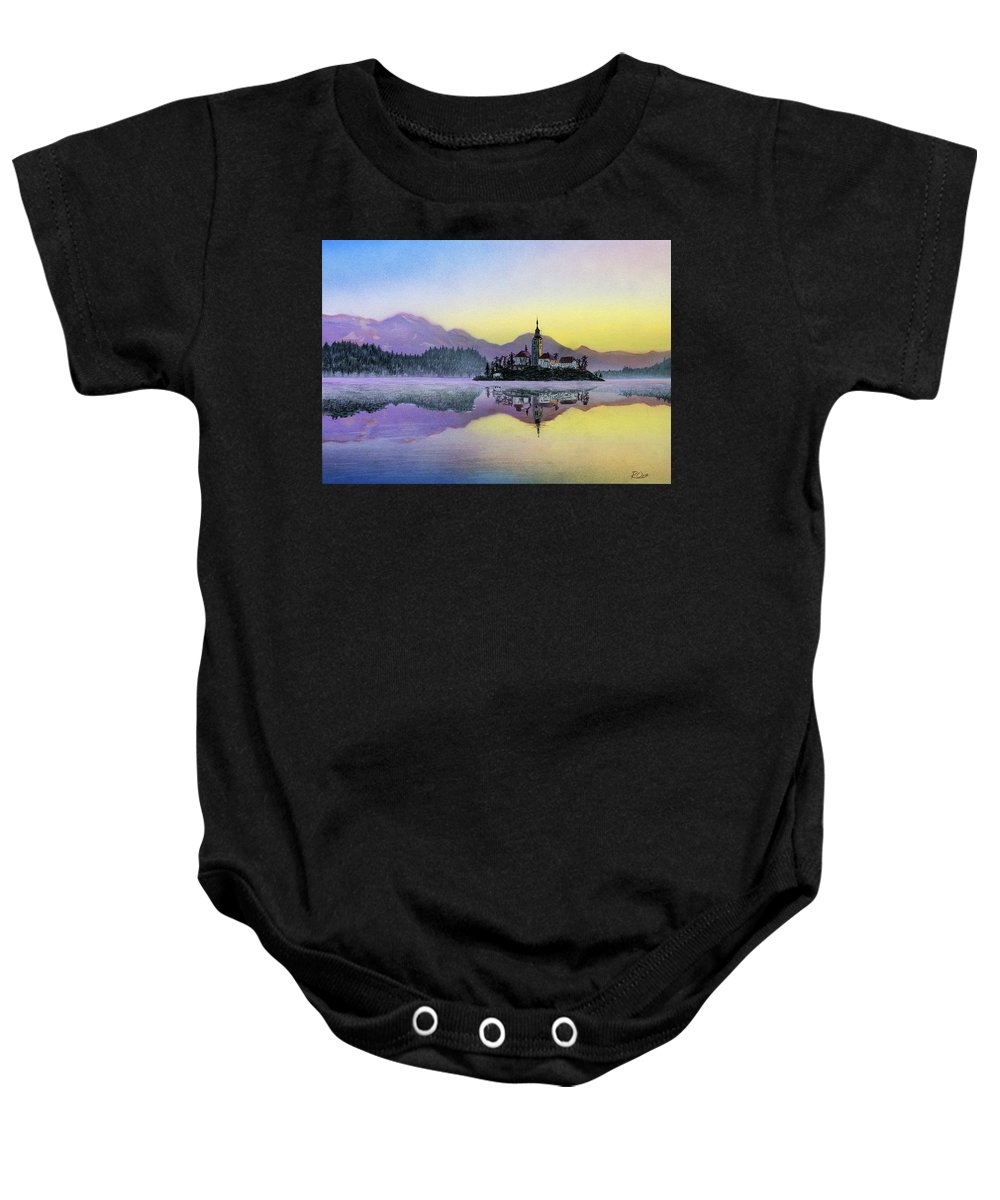 Lake Baby Onesie featuring the mixed media Lake by Raymond Ore