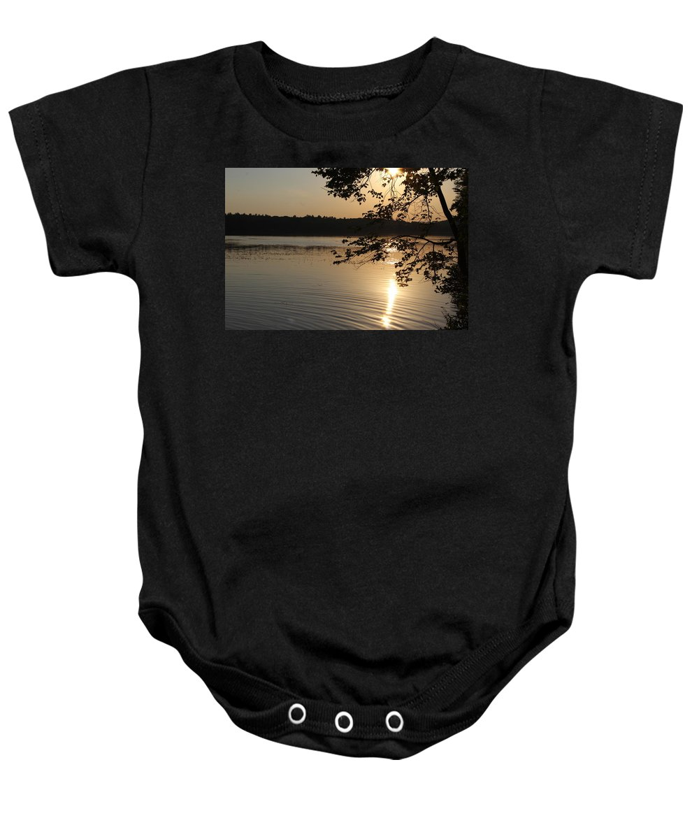 Lake Baby Onesie featuring the photograph Lake Side Sun Set by Brittany Galipeau