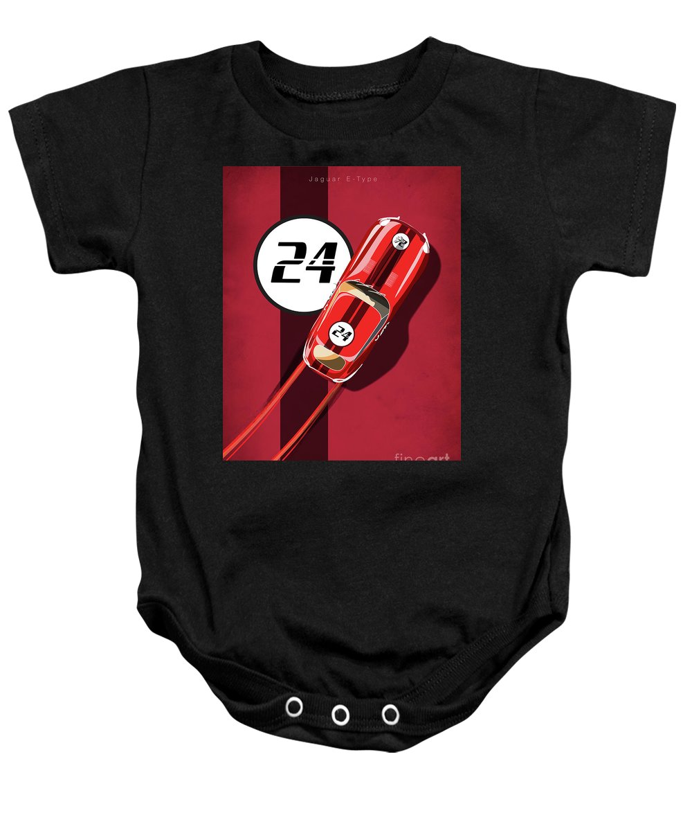 Vintage Cars Baby Onesie featuring the painting Le Mans Jag by Sassan Filsoof