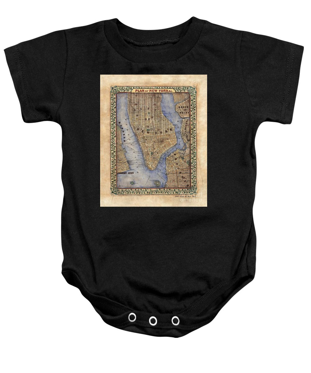 Manhattan Baby Onesie featuring the painting Manhattan New York Antique Map Brooklyn Hand Painted by Lisa Middleton
