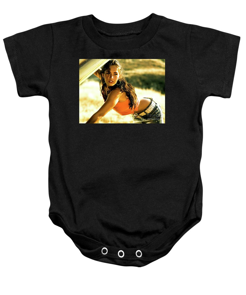 Megan Fox Baby Onesie featuring the mixed media Megan Fox, Transformers by Thomas Pollart