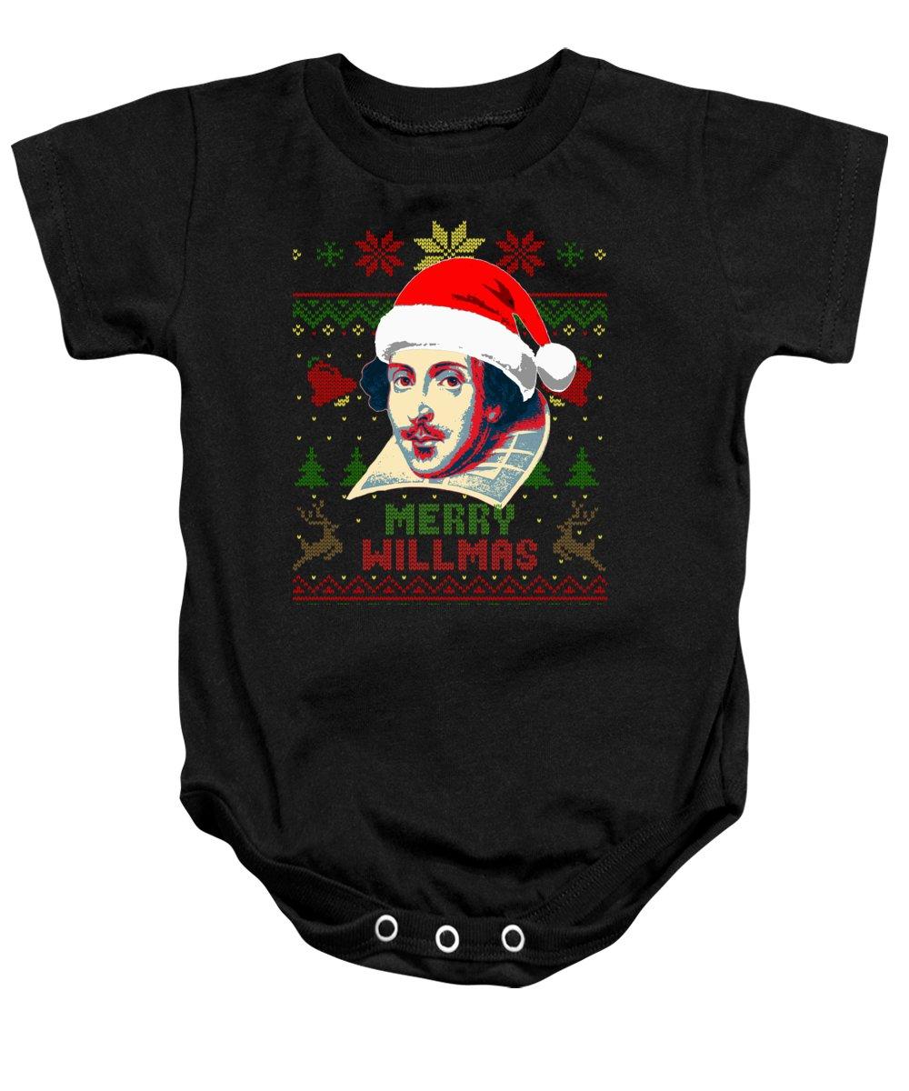 Santa Baby Onesie featuring the digital art Merry Willmas William Shakespeare Christmas by Filip Schpindel