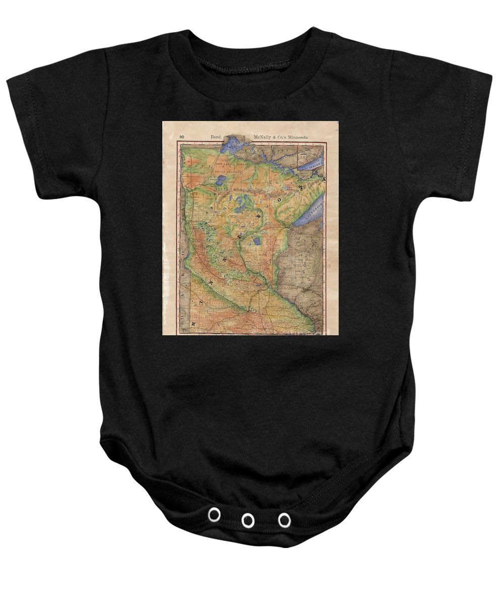 Minnesota Baby Onesie featuring the painting Minnesota Historic Wagon Roads Hand Painted by Lisa Middleton