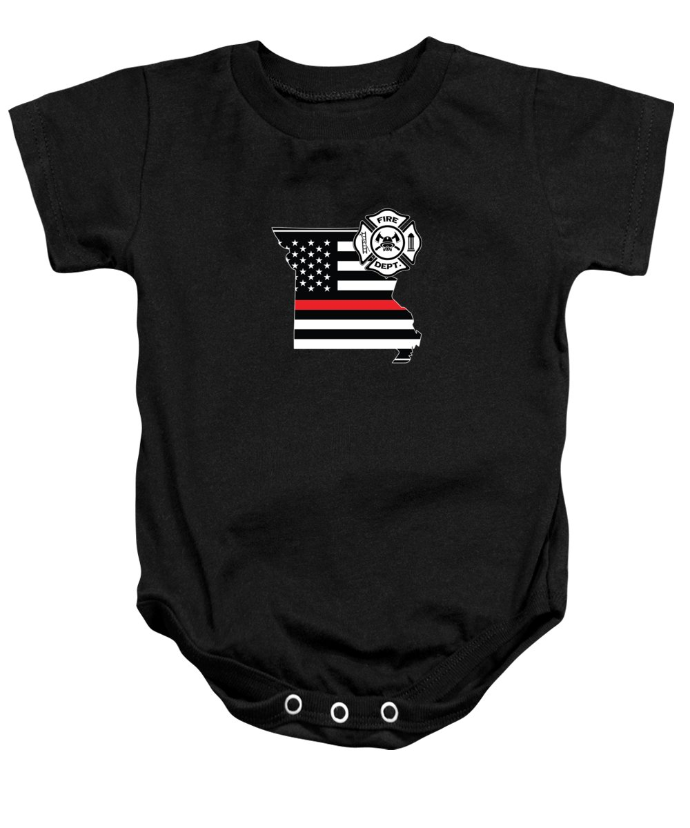Firefighter-appreciation Baby Onesie featuring the digital art Missouri Firefighter Shield Thin Red Line Flag by Jean-Baptiste Perie