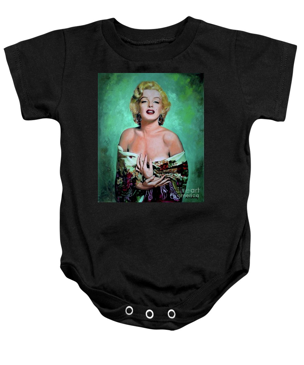Woman Baby Onesie featuring the painting M.Monroe 4 by Jose Manuel Abraham