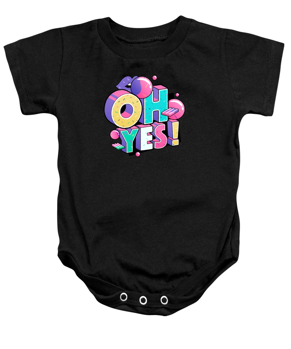 Gift Baby Onesie featuring the drawing Oh Yess Good Old Times Born In The 90s Gift Or Present by Cameron Fulton