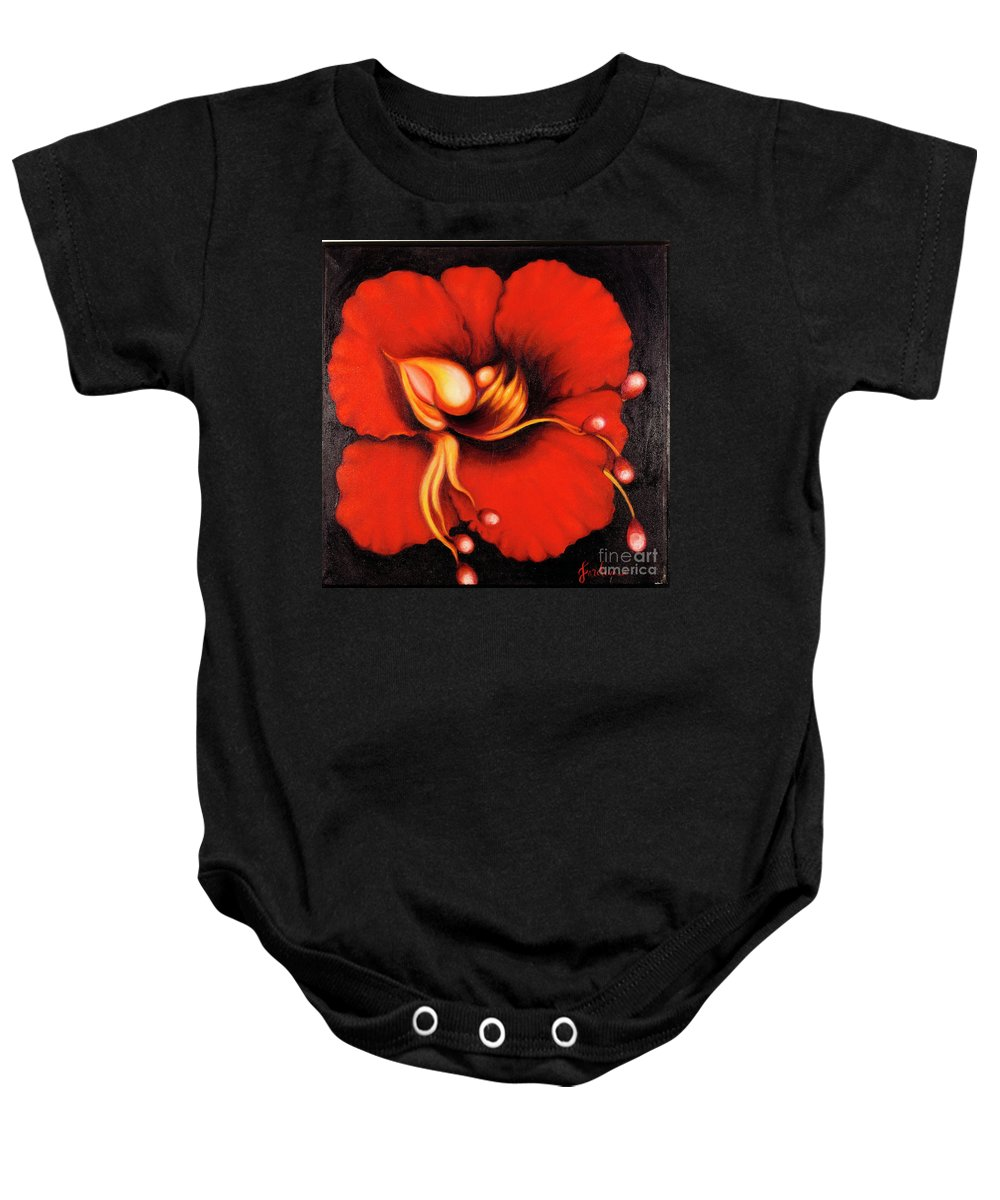 Red Surreal Bloom Artwork Baby Onesie featuring the painting Passion Flower by Jordana Sands