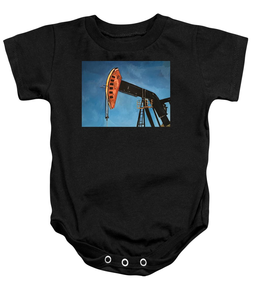 Pump Jack Baby Onesie featuring the painting Pump Jack by Norman Burnham