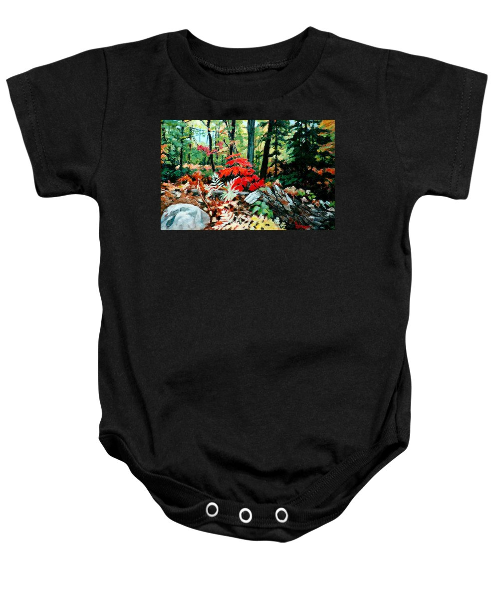Fall Colour - Trees - Landscape - Baby Onesie featuring the painting Resilient Maple by Anthony Palmer