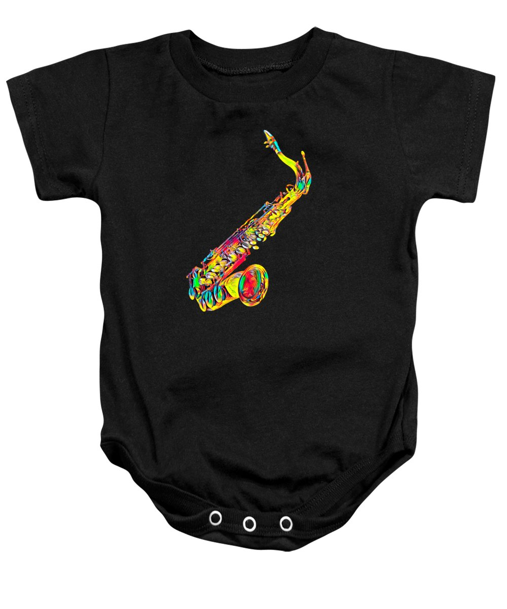 Cool Baby Onesie featuring the digital art Saxophone Music Instrument Gift For Musician Color Designed by Super Katillz