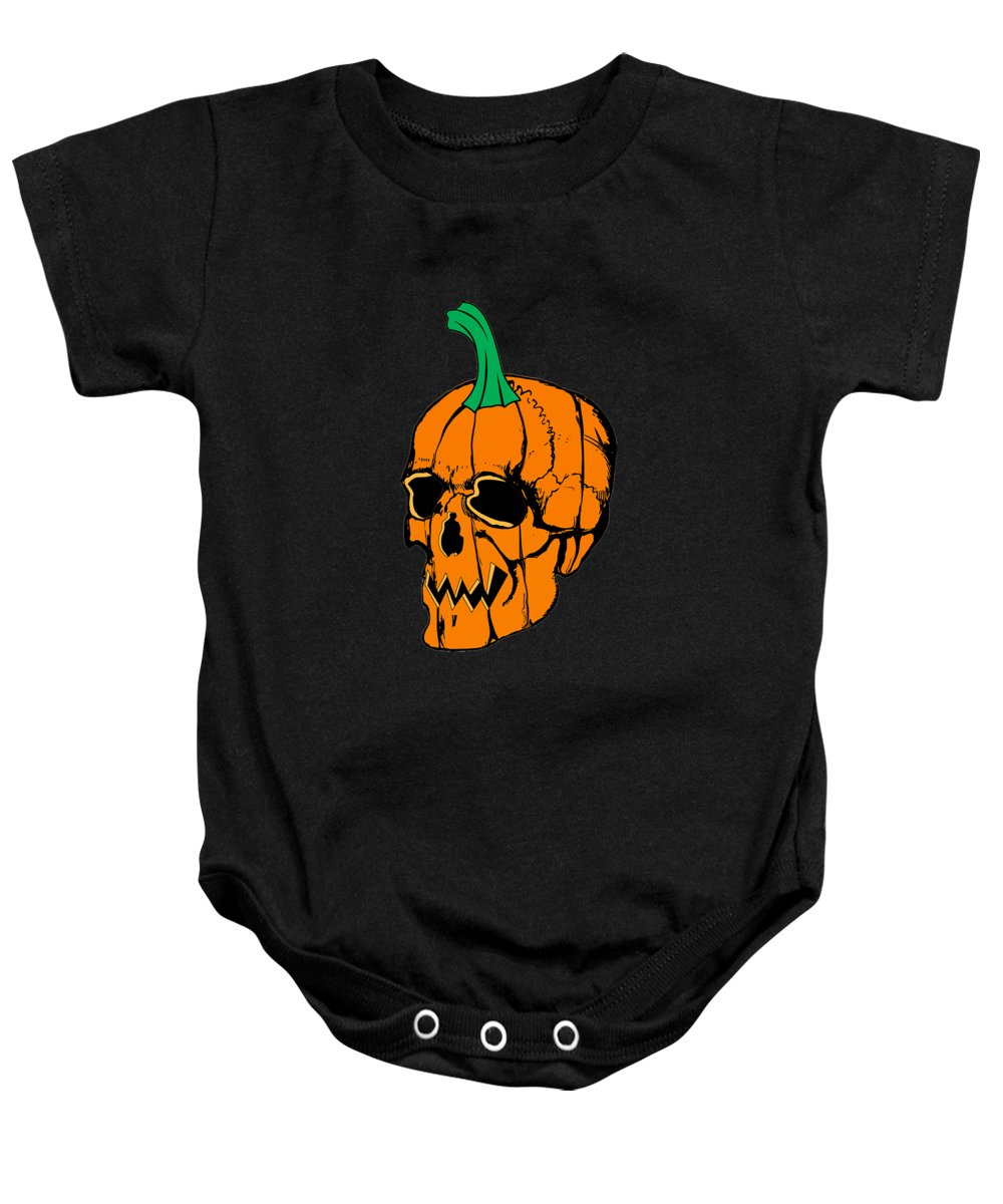 Funny-pregnant Baby Onesie featuring the digital art Scary Pregnant Halloween Design by Funny4You