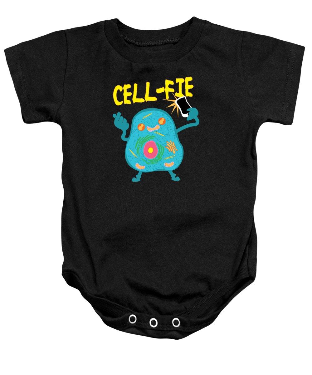 Science-teacher Baby Onesie featuring the digital art Science Nerd Shirt Cellfie Dad Joke by Mike G