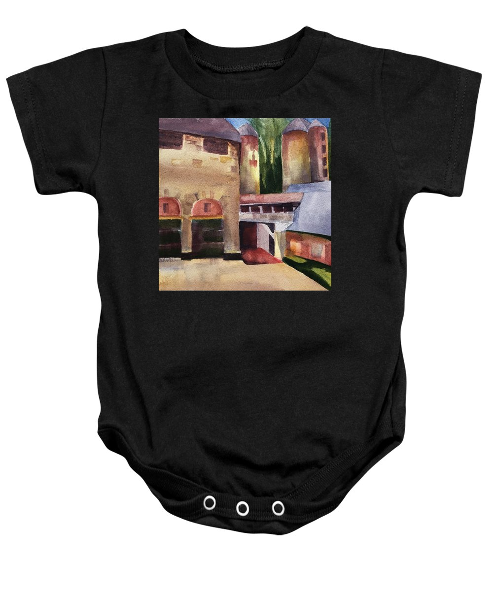 Stone Barns Baby Onesie featuring the painting Stone Barns Courtyard by Lynne Bolwell
