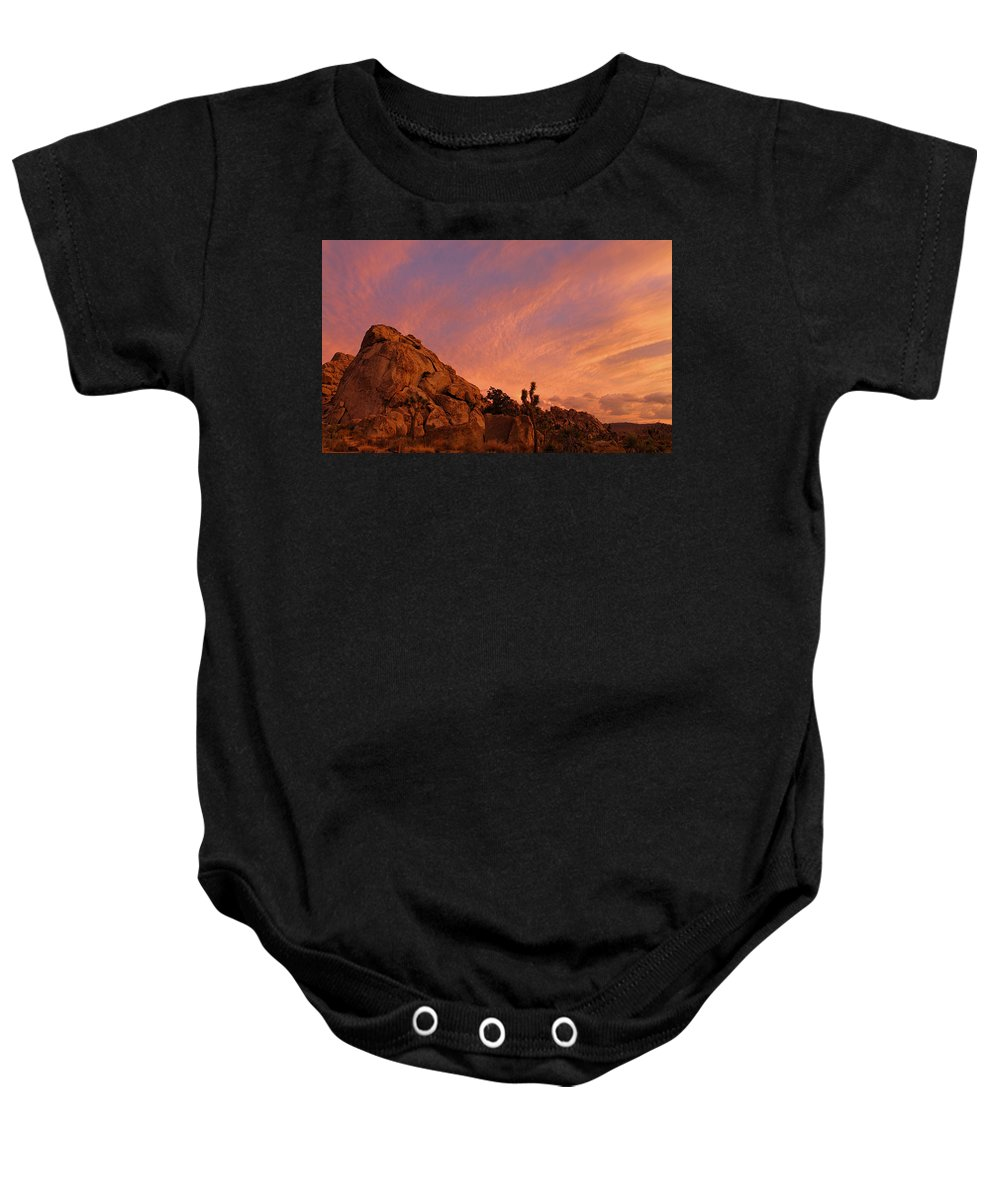 Sunset Baby Onesie featuring the photograph Sunset, Joshua Tree National Park by Angel La Canfora