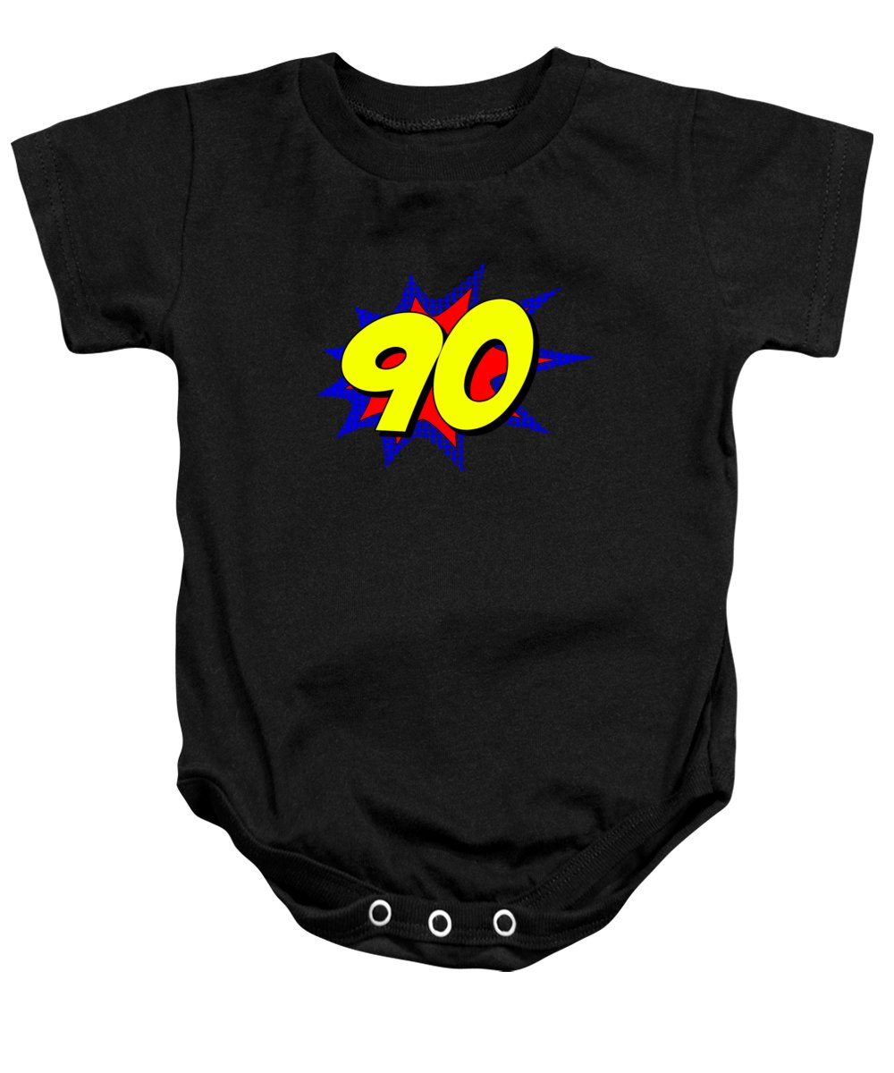 Cool Baby Onesie featuring the digital art Superhero 90 Years Old Birthday by Flippin Sweet Gear