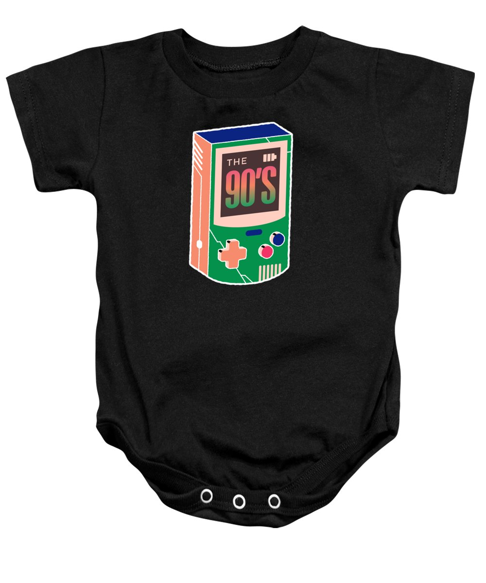 Gift Baby Onesie featuring the drawing The 90s Gaming Born In The 90s Old Time Gaming by Cameron Fulton